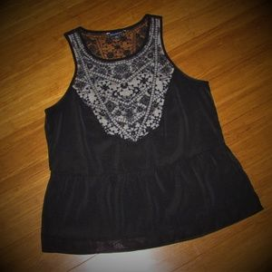 American Eagle Outfitters Peplum Tank with Lace
